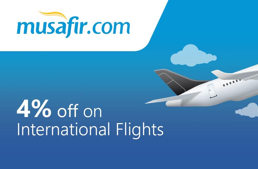 Get 4% off on International Flights