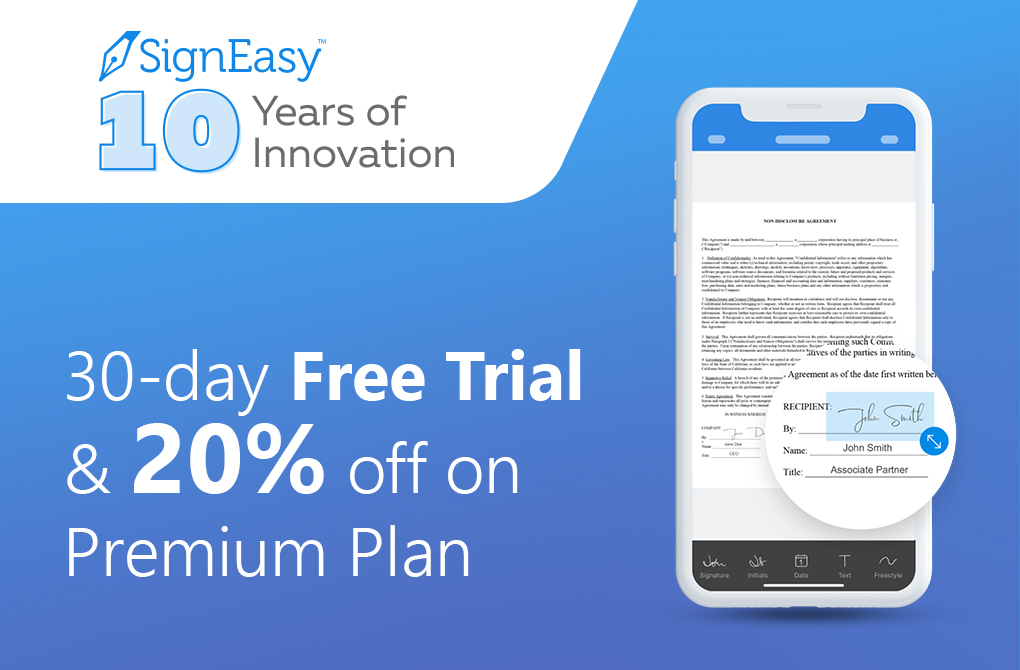 Get 20% off on the Premium plan from SignEasy
