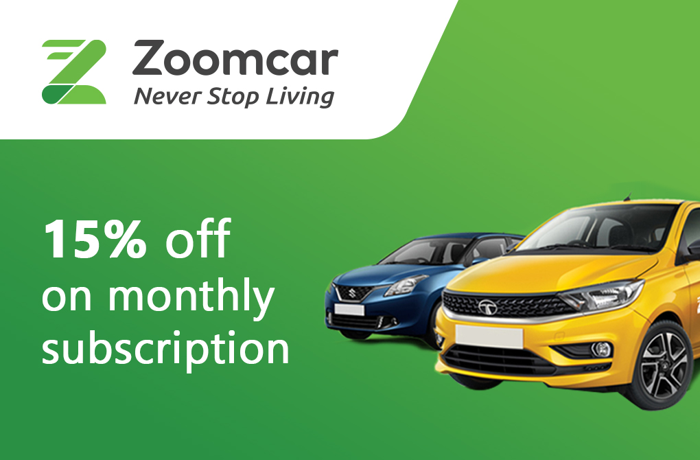 Flat 15% off on Monthly Zoomcar Subscription