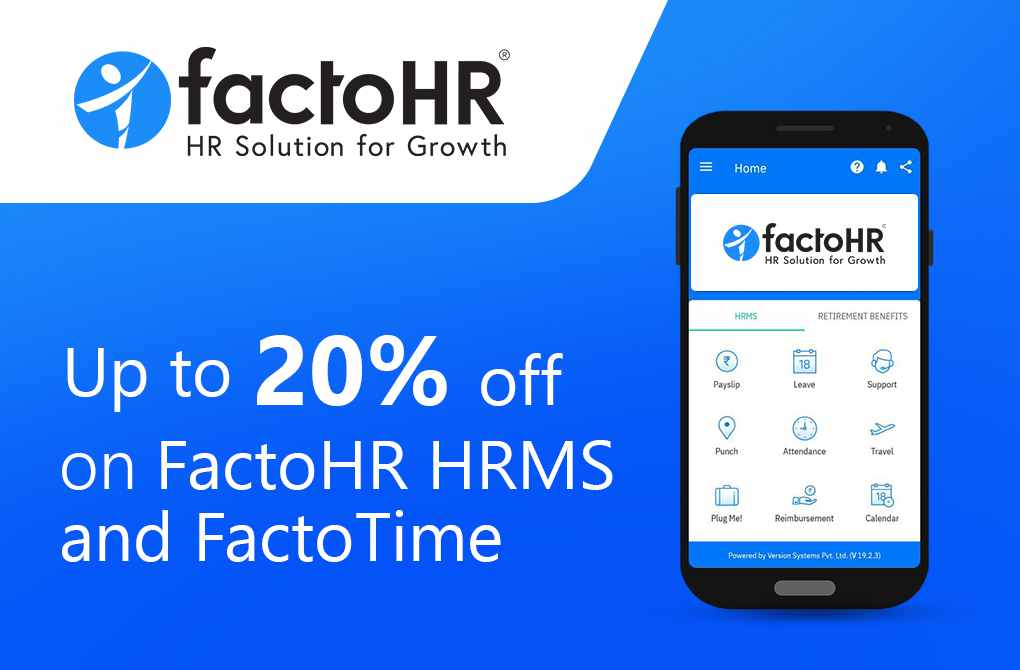 Up to 20% off on FactoHR HRMS and FactoTime