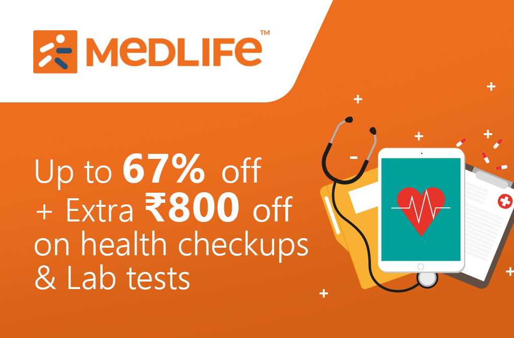 Up to 67% off + Extra Rs.100 off on health checkups & lab tests