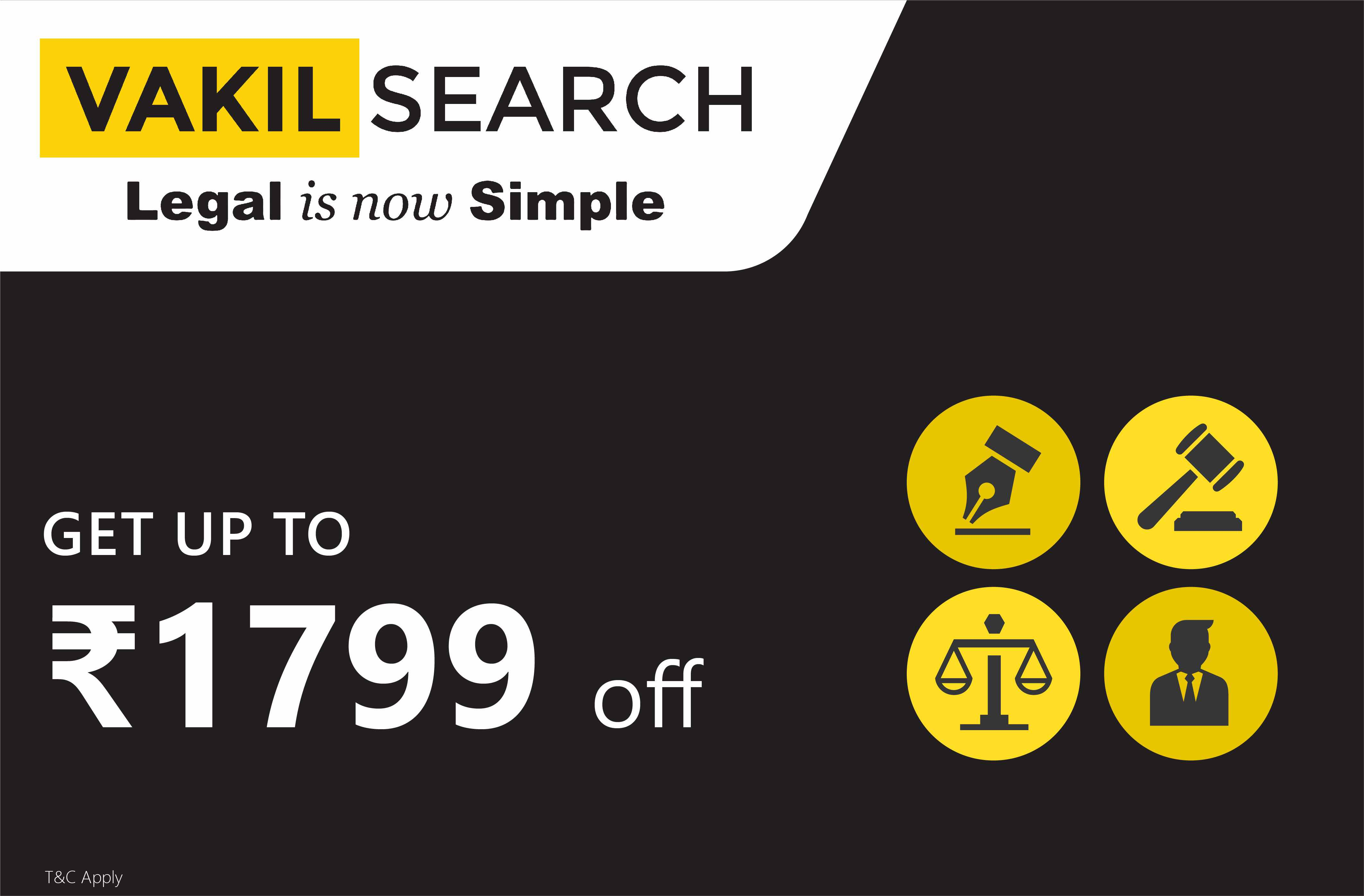 Upto Rs.1799 off on Legal, Compliance & Tax Services