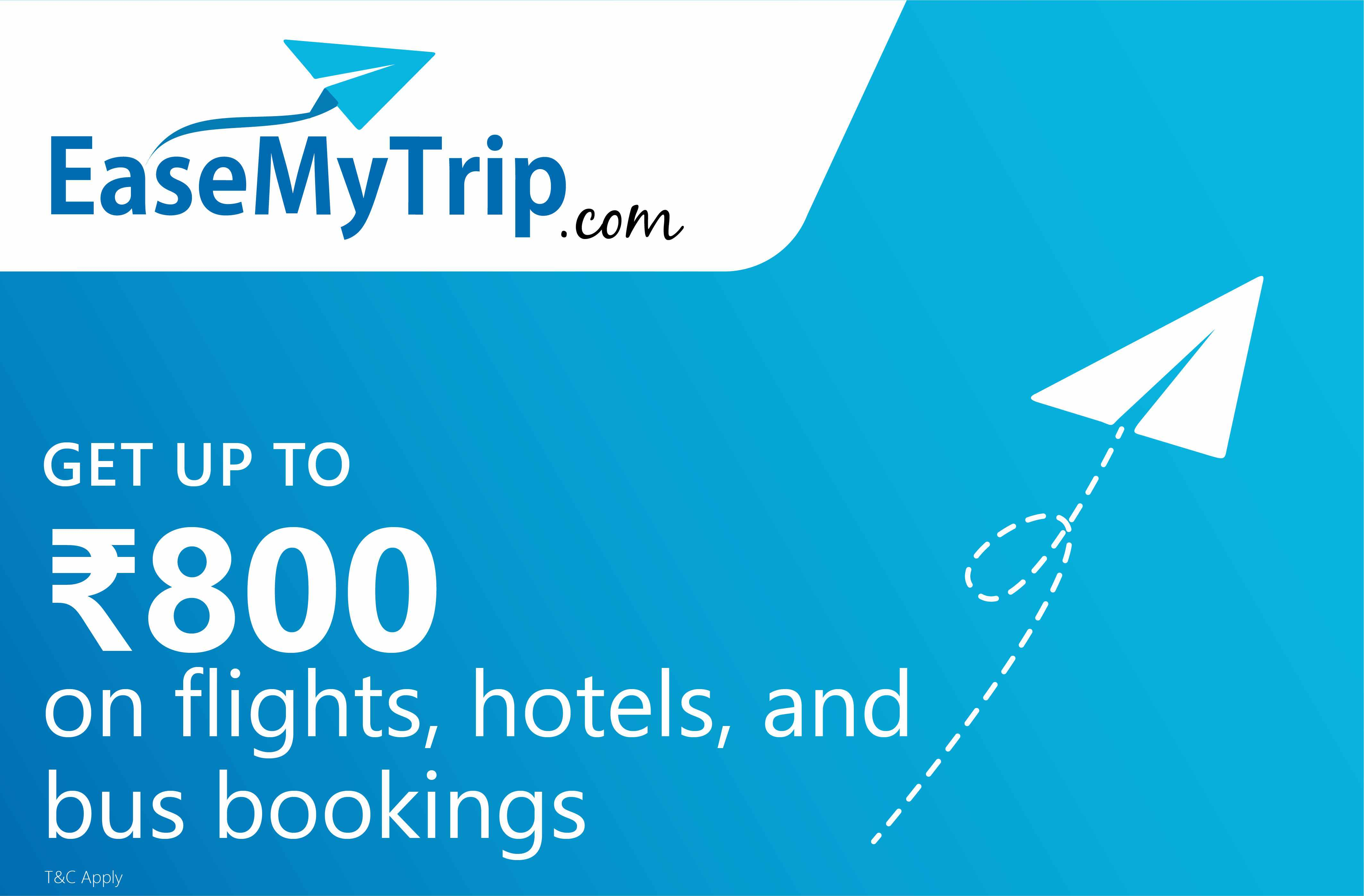 Upto Rs.800 off on Flights, Bus & Hotel Bookings