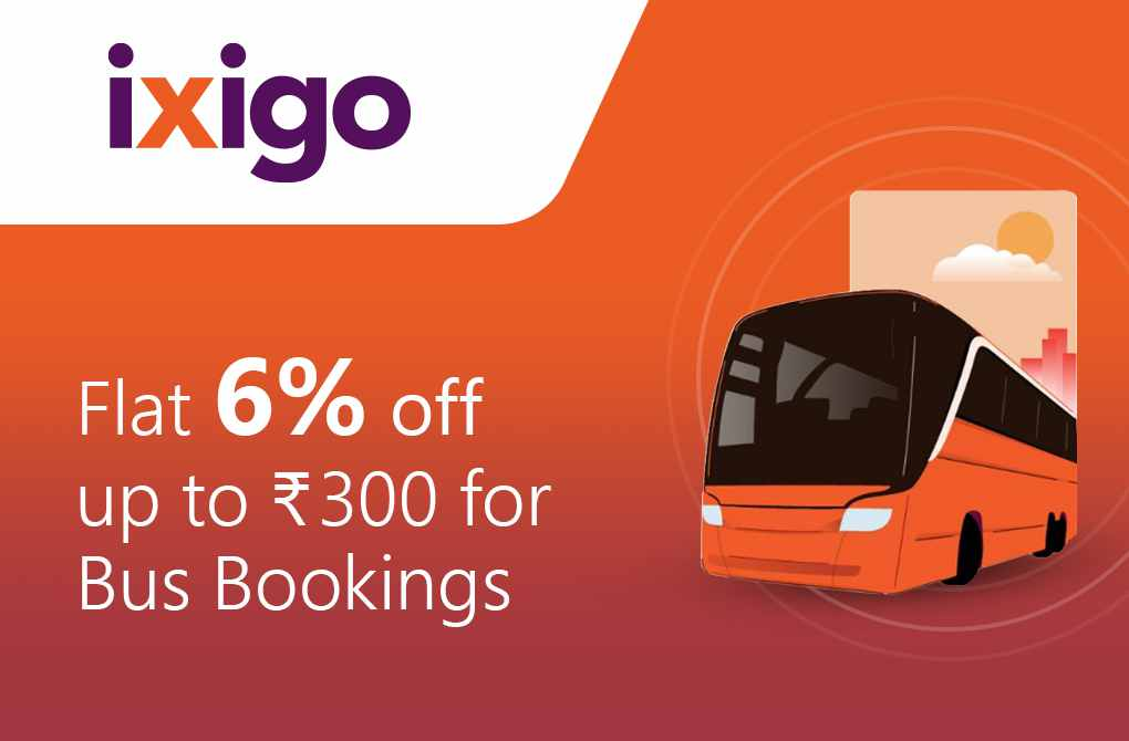 Flat 6% off up to Rs.300 on Bus Bookings