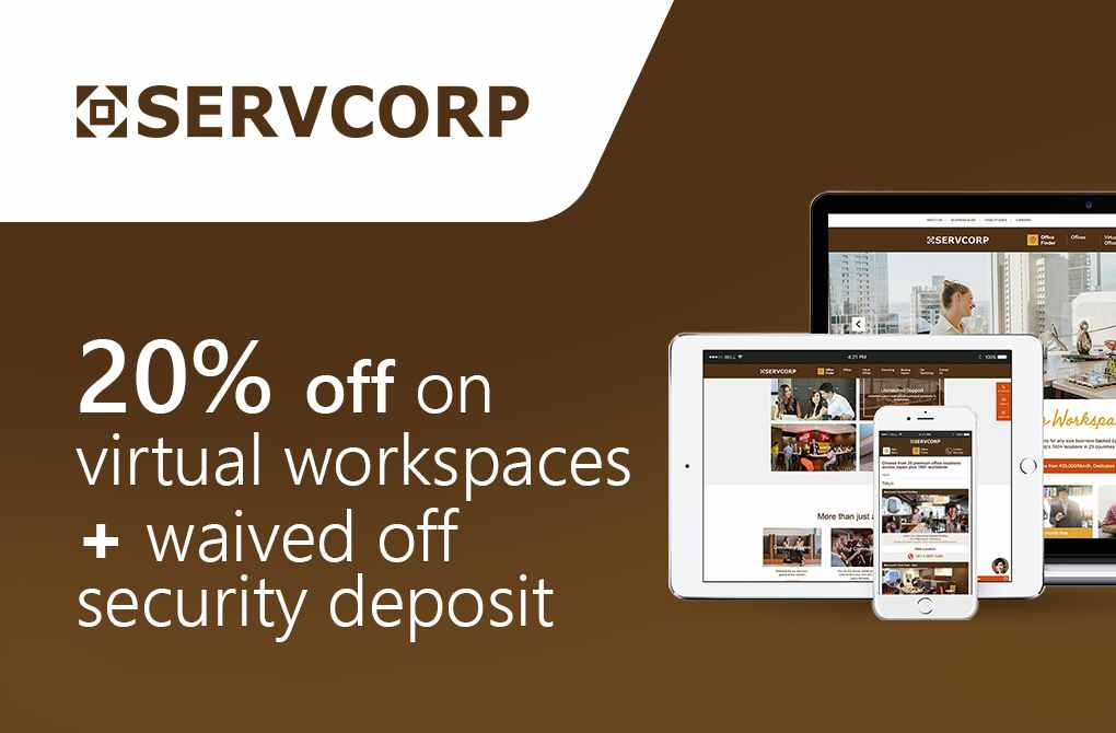 Up to 20% off + Waiver of security deposit on Workspaces