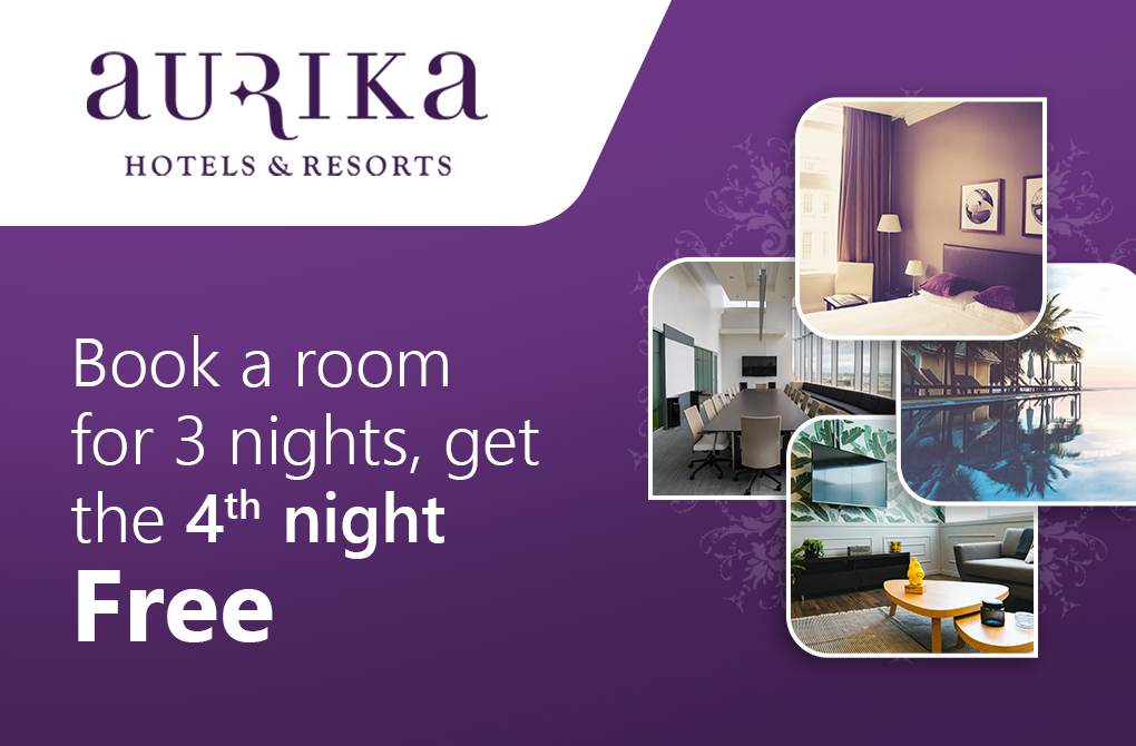 Get 1 night stay complimentary from Aurika