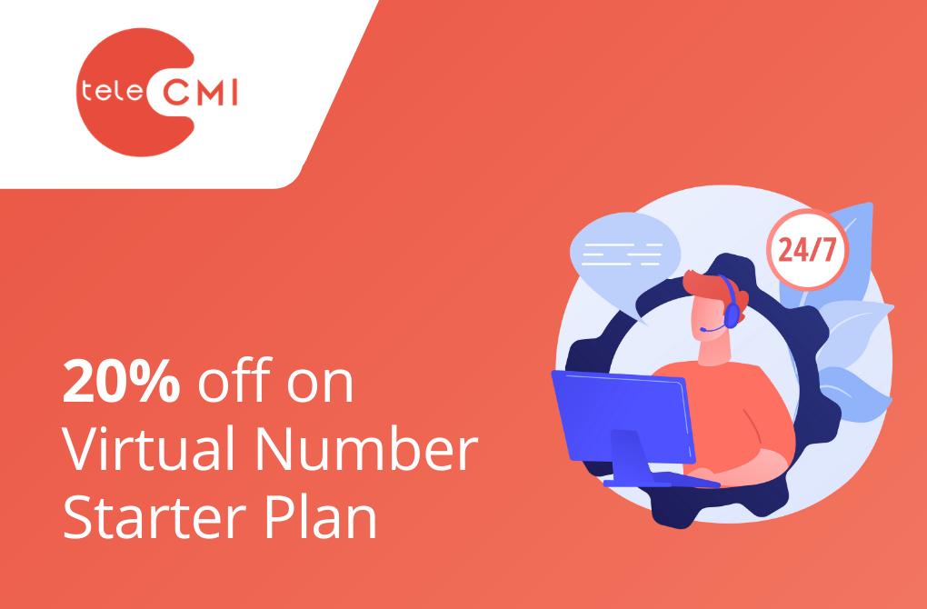20% off on virtual number Starter Plan