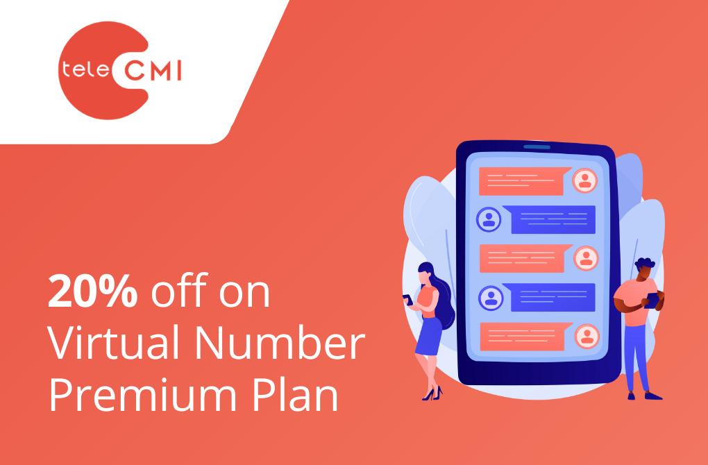 20% off on virtual number Premium Plan